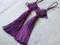 Chinese knot tassels PLUM one pair Chinese lucky by TintinBeads