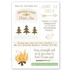 Camping birthday invite. Could be a cute theme- easy to make a simple party for Jonah's first? Trail mix, s'mores, hot dogs/burgers...