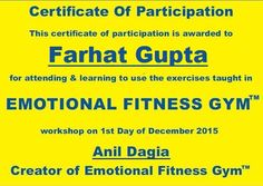 """ UNBELIEVABLE "" ! ! Testimonials Emotional Fitness Gym  Farhat Gupta, ICF Certified Coach, REBT Practitioner, NLP Practitioner, Founder & Head META Skills  http://www.anildagia.com/testimonials/404-farhat-gupta-anil-dagia-s-emotional-fitness-gym-mumbai-india  NLP Training from Anil Dagia - India's Most Innovative NLP Trainer  Attend my Next ICF + NLP Practitioner Dual Certification Life Coach Training in Pune India 4 Apr :- http://www.anildagia.com/events/258"