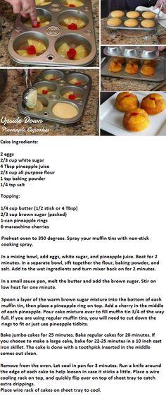 Mini Pineapple Upside Down Cakes (baking recipes cupcakes pineapple upside) Baking Recipes Cupcakes, Dessert Recipes, Just Desserts, Delicious Desserts, Yummy Food, Mini Pineapple Upside Down Cakes, Scones, Breakfast Dessert, Pumpkin Dessert