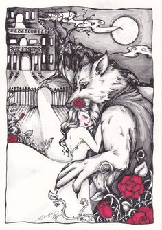 Beauty and the Beast Art Print by kharliabee on Etsy, $18.00