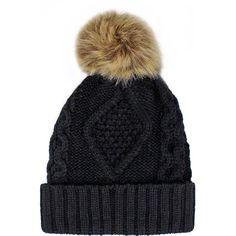 Black Chunky Cable Knit Beanie Pom-Pom Hat With Fleece Lining found on Polyvore featuring accessories, hats, beanies, black, skull beanie, skull cap beanie, pom beanie, beanie cap, skull cap and flat brim hats