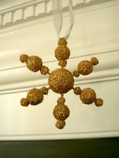 Modeled after Pottery Barn ornament, snowflake made from styrofoam