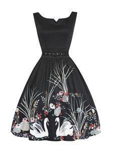 Lindy Bop Delta Swan Border Print Black Swing Dress