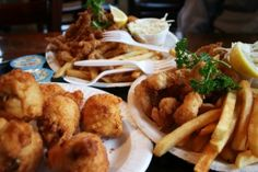 clam cakes, fried shrimp, and fried clam strips from Flo's Clam Shack in Middletown, Rhode Island - my favorite things Clam Cakes, Fried Shrimp, Clams, Rhode Island, Seafood, Fries, Meet, Deep Fried Shrimp, Sea Food