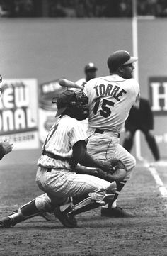 April 12, 1965 Joe Torre hits two home runs in Milwaukee's 4-2 Opening Day victory at Crosley Field. Next season on the same date, the Braves catcher will do it again, joining teammate Eddie Mathews as the only major leaguers to have hit two home runs twice in games played on Opening Day.
