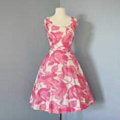 1950s Cotton Sundress...Adorable 1950s Pink and White Floral Cotton Neiman Marcus Sundress.
