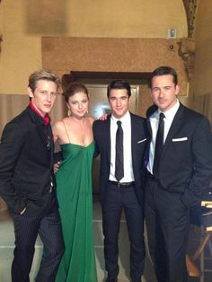 The t.v. series Revenge - cast members. I love these guys and the the show as well. @Emily Schoenfeld van camp on set with Gabriel Mann, Josh Bowman and Barry Sloane.