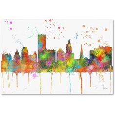Trademark Fine Art Providence RI Skyline Mclr-1 inch Canvas Art by Marlene Watson, Size: 12 x 19, Multicolor