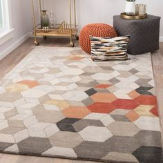 Grey And Orange Living Room, Grey And Beige, Contemporary Area Rugs, Modern Area Rugs, Orange Area Rug, Orange Rugs, Leather Dining Room Chairs, Living Room Area Rugs, Colorful Chairs