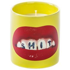 Seletti Wears Toilet Paper Home Teeth - Scented Candle ($77) ❤ liked on Polyvore featuring home, home decor, yellow, seletti, yellow home decor and yellow home accessories