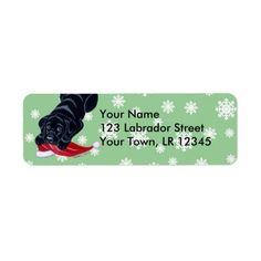 Black Labrador Puppy with Santa Hat Christmas Return Address Label by Naomi Ochiai