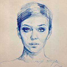 How to draw a pretty face. _____ art of alvin : Photo Portrait Sketches, Pencil Portrait, Portrait Art, Art Sketches, Art Drawings, Ballpoint Pen Art, Sketch Inspiration, Color Pencil Art, Portraits