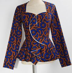 This feminine African print ruffle front jacket with a pretty peplum hem accent, features a floral-flow, super flirty style that molds to your physique. ~Latest African fashion, Ankara, kitenge, African women dresses, African prints, African men's fashion, Nigerian style, Ghanaian fashion ~DKK