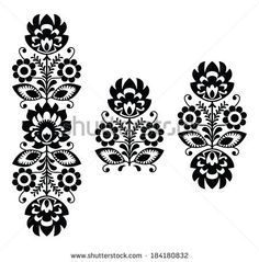 Folk embroidery - floral traditional Polish pattern in black and white by RedKoala, via Shutterstock