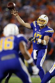 Philip Rivers #17 of the San Diego Chargers passes the ball during the second half of a game against the Denver Broncos at Qualcomm Stadium on October 13, 2016 in San Diego, California.
