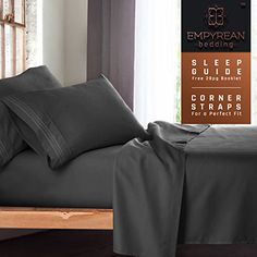 """Queen Size Bed Sheets Set, Grey Charcoal (Gray) - Soft Luxury Best Quality 4-Piece Bed Set - Features Special Tight Fit Corner Straps on Extra Deep Pocket Fitted Sheets + Fun """"Better Sleep Guide"""" //http://bestadjustablebed.us/product/queen-size-bed-sheets-set-grey-charcoal-gray-soft-luxury-best-quality-4-piece-bed-set-features-special-tight-fit-corner-straps-on-extra-deep-pocket-fitted-sheets-fun-better-sleep-guide/"""