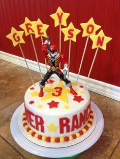 Power Rangers Birthday Cake- get a plain cake and add the Power Ranger and Stars Avengers Birthday Cakes, 6th Birthday Cakes, 6th Birthday Parties, Birthday Fun, Birthday Ideas, Power Ranger Cupcakes, Power Ranger Cake, Tortas Power Rangers, Power Rangers Birthday Cake