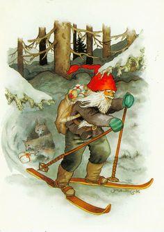 Inge Löök Christmas Knomes, Christmas Elf, Vintage Christmas, Christmas Crafts, Illustration Noel, Winter Illustration, Kobold, Vintage Greeting Cards, Leprechaun