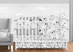 Fox Black and White Crib Bedding Collection 9-Piece Crib Set (Fox-BK-WH-9) White Crib Bedding, Woodland Crib Bedding, Baby Bedding Sets, Crib Sets, Luxury Bedding Sets, Comforter Sets, Bedding Shop, Teen Bedding, Nursery Bedding