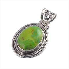925 Sterling Silver Green Onyx /& Smoky Quartz gemstone Pendant jewelry 3.56g