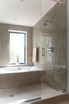 30 Amazing Neutral Bathroom Designs : 30 Amazing Neutral Bathroom Designs With Dark Brown Wall Floor And White Bathtub And Minimalist Window. Wet Room Bathroom, Bathroom Renos, Bathroom Flooring, Small Bathroom, Bath Room, Wet Room With Bath, Eclectic Bathroom, Chic Bathrooms, Bath Tub