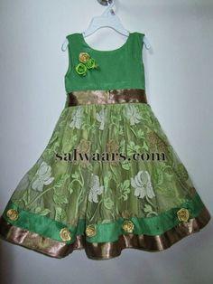 Jute Net Kids Frock in Green - Indian Dresses