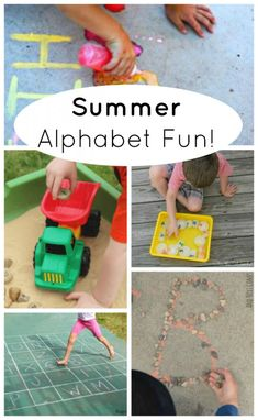 Fun ways to learn the alphabet this summer! ABC and letter games for preschoolers. Learning is so much more fun when you are playing a game. Educational Activities For Preschoolers, Creative Activities For Kids, Kids Learning Activities, Summer Activities For Kids, Alphabet Activities, Fun Learning, Preschool Activities, Teaching Kids, Preschool Alphabet