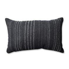 Pillow Perfect Tribal Stitches Felt Dark Melange Grey Rectangular Throw Pillow