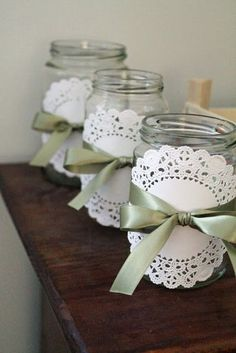 15 Beautiful Paper Doily Crafts Paper Doily Crafts - make fun crafts, DIY decorations, and even party ideas using simple and inexpensive paper doilies. Paper Doily Crafts, Doilies Crafts, Paper Quilling, Mason Jar Crafts, Mason Jars, Spring Party, Wedding Table, Diy Wedding, Diy And Crafts