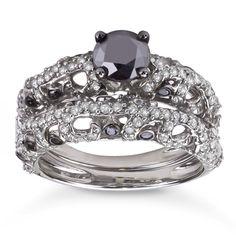Miadora 10k White Gold 1 2/5ct TDW Black Diamond Bridal Ring Set (I1-I2) | Overstock.com Shopping - The Best Deals on Bridal Sets