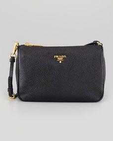 Prada Daino Small Shoulder Bag, Black