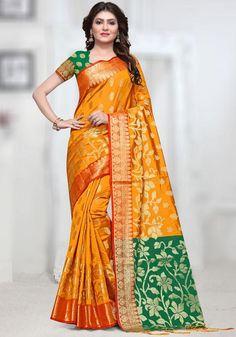 9c10b0a20d7e9 Siya Fashions Designer Silk Saree In Yellow Green SFEX31  orangesaree