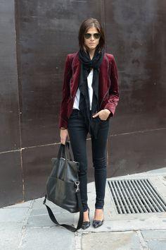 Lindo esse blazer... Look do Dia: Blazer Burgundy #lookoftheday #burgundy #fashion #trends