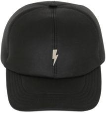 Neil Barrett Flash Leather Baseball Cap - No more bad hair days! This leather baseball cap is super cute and practical. Just throw it on and head out the door with your pup.