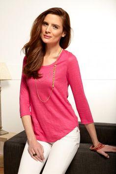 Tee-shirt rose fuschia 100% lin fabrication française. Bernard-Solfin.