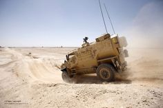 A Foxhound Light Protected Patrol Vehicle is put through its paces at Camp Bastion, Afghanistan.
