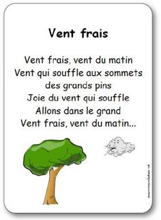 Lyrics of the song Wind fresh, morning wind, Wind blowing to the summits, d … Read In French, Learn French, French Teaching Resources, Teaching French, Basic French Words, French Poems, French Practice, French Education, French Expressions