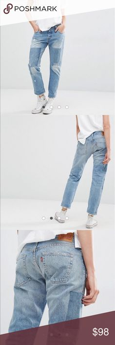 • LEVI'S • 501 patchwork jeans NWT Levi's 501 patchwork cropped jeans. Distressed with cute patchwork! Size W28 L32. Button up style. Brand new, with tags. Never worn! Not eligible for bundle discount. Open to offers!  Levi's Jeans Ankle & Cropped