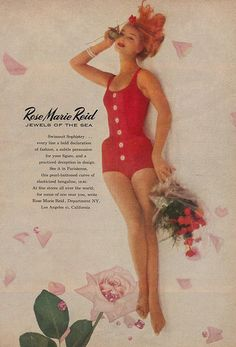 A sophisticated red swimsuit from Rose Marie Reid's 'Jewels of the Sea' collection. 1950s