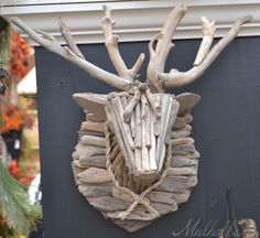 deer bust made from wood pieces
