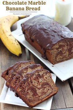 Chocolate Marble Banana Bread from Roxanashomebaking... Rich semi-sweet chocolate swirled into a moist and delicious banana bread with a to...