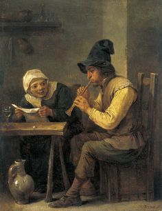 'Duet', 1640-'45 - by David Teniers II,     Flemish painter(1610-1690)    Oil on canvas   British Royal Collection,  London.