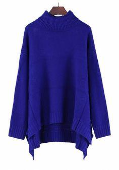 Blue Plain Pleated High Neck Bat Sleeve Thick Cotton Blend Sweater