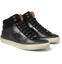 Jimmy Choo Belgravia Scored Leather High Top Sneakers