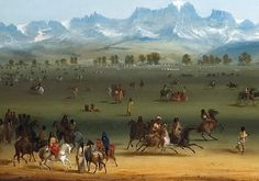 Fur Trade Rendezvous c. Wind River Mountains, by Alfred Jacob Miller. Native American Art, American Artists, Native Art, Jacob Miller, Mountain Man Rendezvous, Fur Trade, American Frontier, Historical Art, First Nations