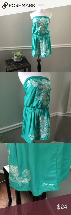 "Billabong Teal green Strapless Dress Never worn. Green strapless dress with Pockets. White embroidered flower design in front. Length 28"". 100% viscose. Billabong Dresses Strapless"