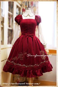 mimisaurus:  random-taobao:  Lolita OP dress. Colors: red and green. Sizes: S-XL. No custom sizing. 418 yuan. 67.48 USD.  Holy fuck.