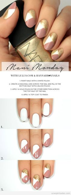 Monday: Pink and Gold Geo Nail Tutorial Mani Monday: Pink and Gold Geo Nail Tutorial at !Mani Monday: Pink and Gold Geo Nail Tutorial at ! Trendy Nails, Cute Nails, Nagel Hacks, Nail Art For Beginners, Beginner Nail Art, Spring Nail Art, French Tip Nails, French Manicures, Nagel Gel