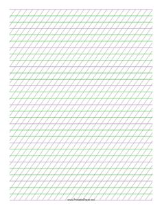 This Italic Guide Paper features sets of green and purple guidelines 1/3-inch apart with high-angle vertical guidelines on letter-sized paper in portrait orientation. Free to download and print